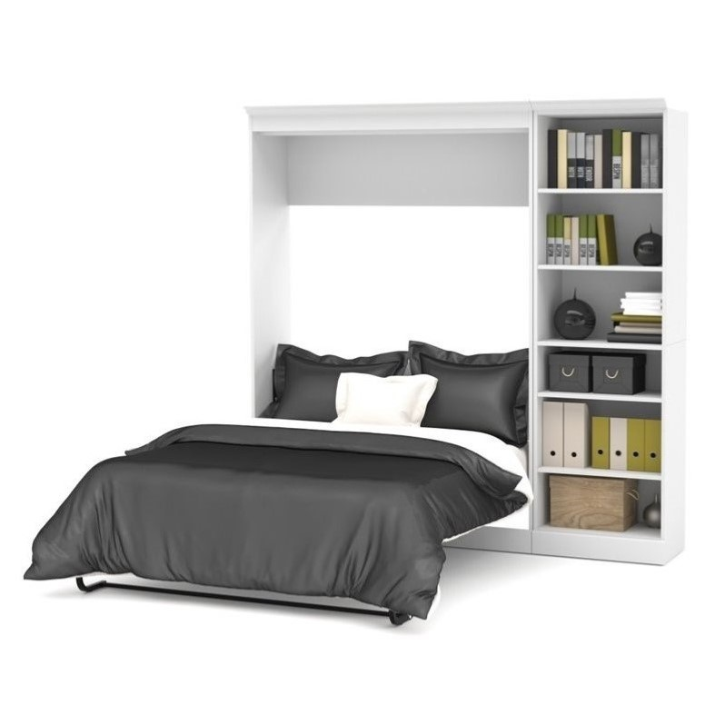 Atlin Designs 84'' Full Wall Bed with Storage Unit White