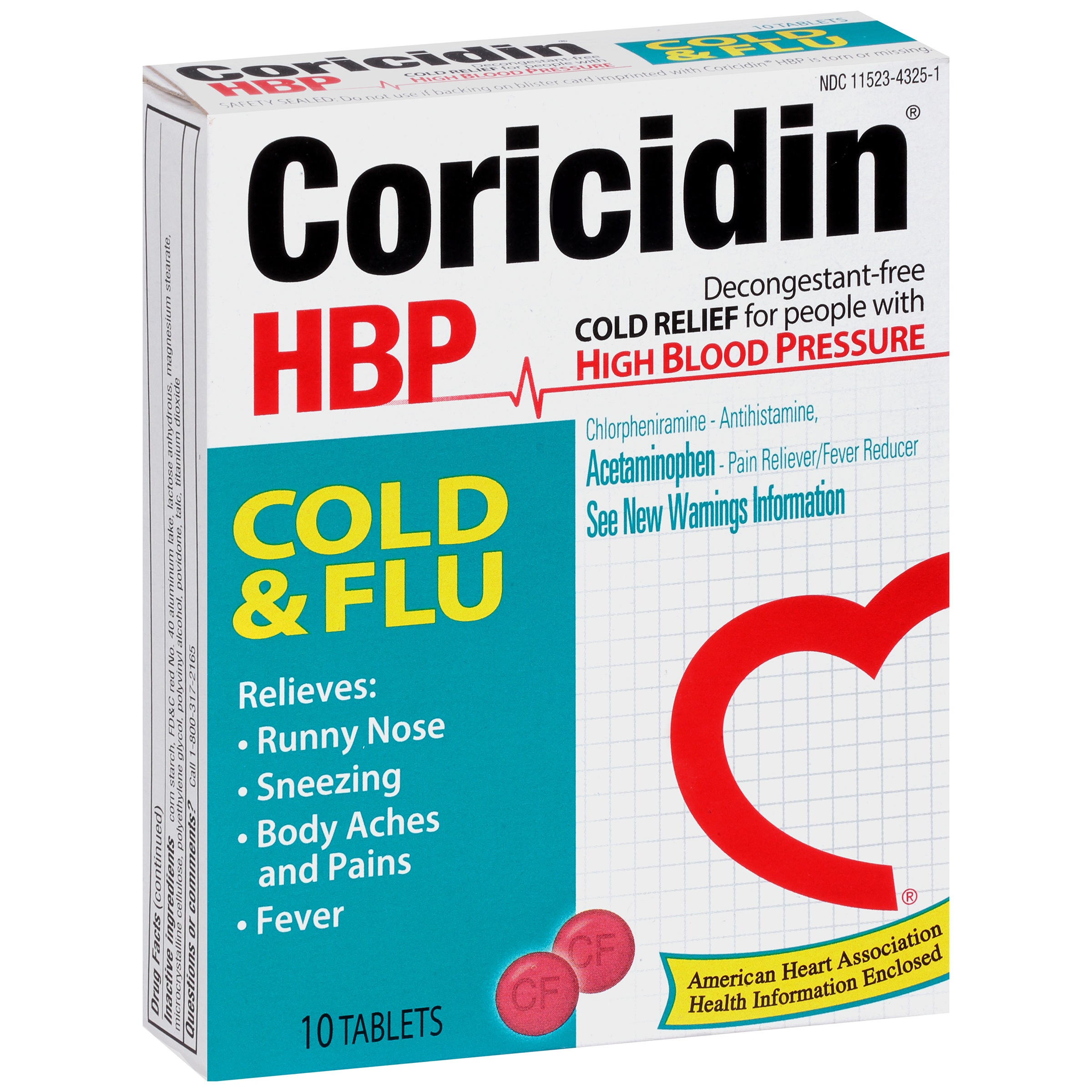 Coricidin® HBP Cold & Flu Cold Relief Tablets 10 ct Box