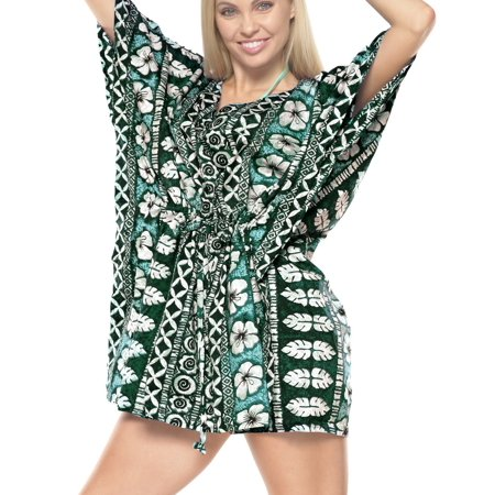 aa36771998f40 LA LEELA Beach Swimwear Cover up Bikini Tunic Print Floral Plus Size  Drawstring Green - Walmart.com