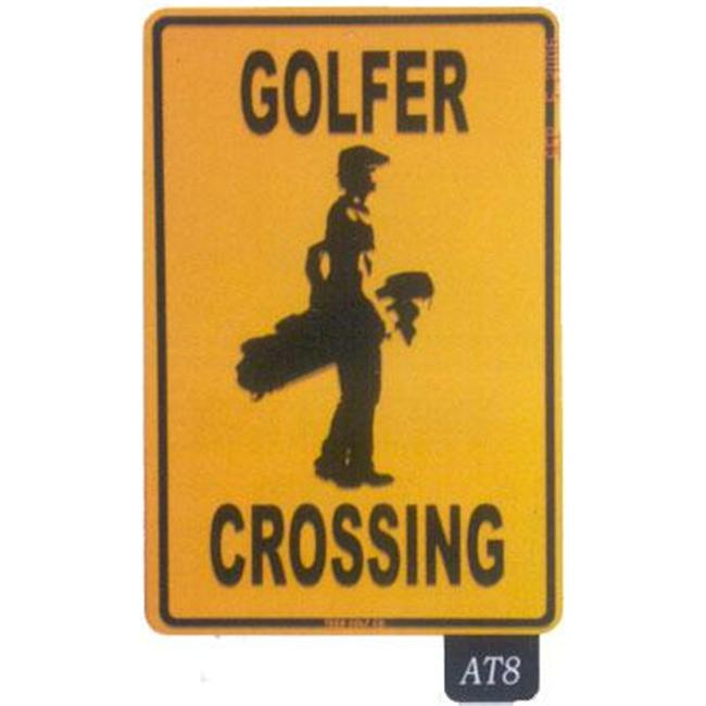 Seaweed Surf Co AT8 12X18 Aluminum Sign Golfer Crossing