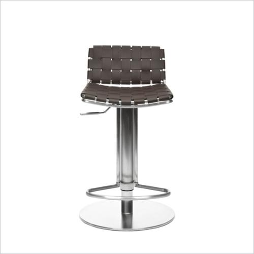 Safavieh Liam Leather Seat Steel Adjustable Bar Stool in Brown
