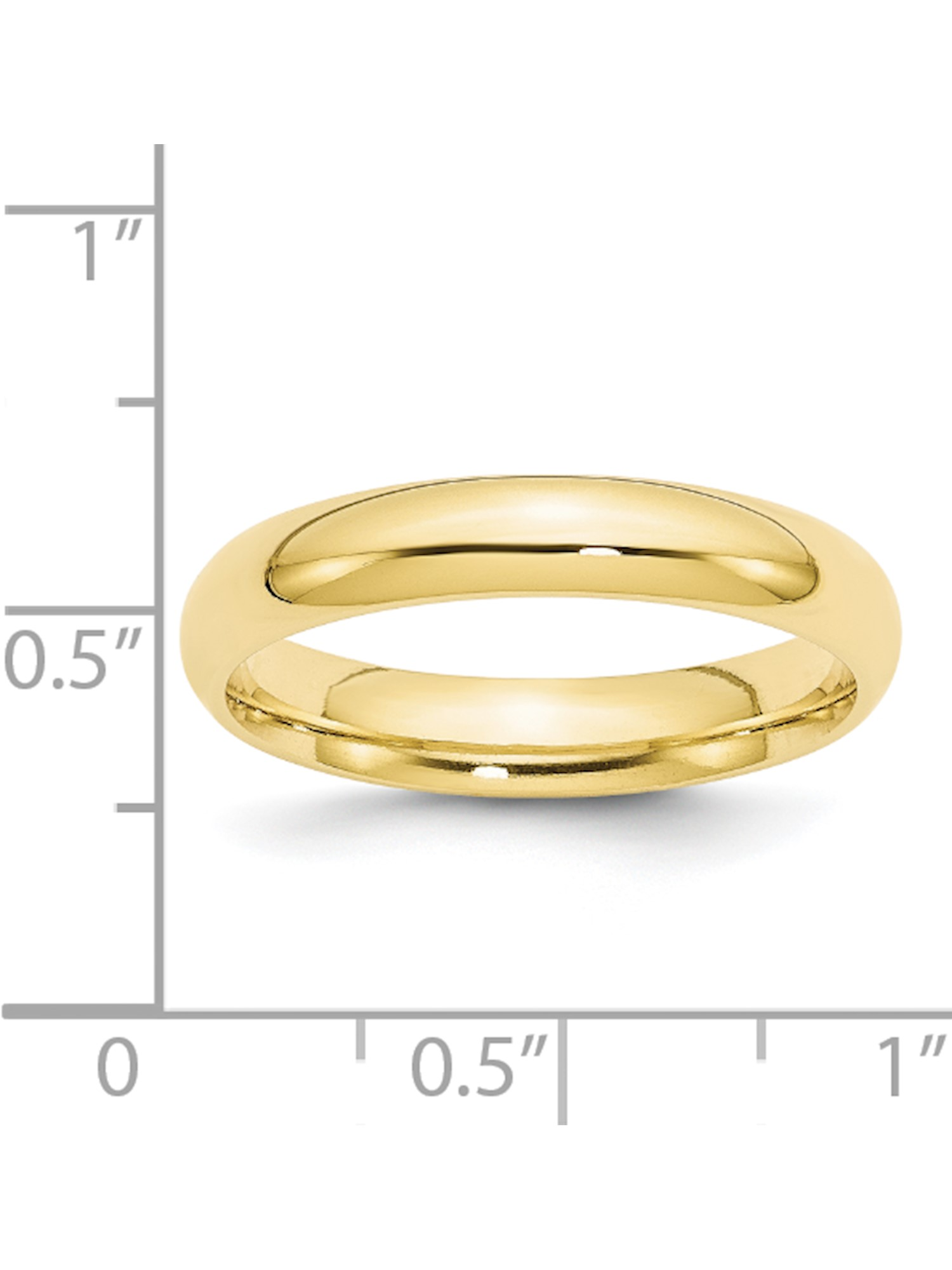 Solid 10k Yellow Gold 4mm Standard Comfort Fit Wedding Band