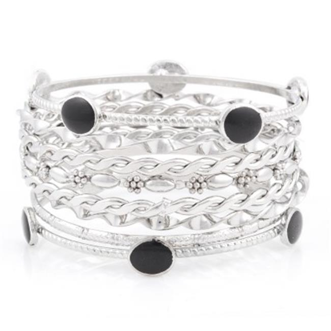 C Jewelry Silver-Tone Black Bangles, Set Of 8 Pieces