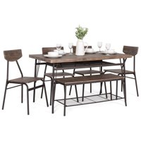Best Choice Products 6-Piece 55in Modern Home Dining Set w/ Storage Racks