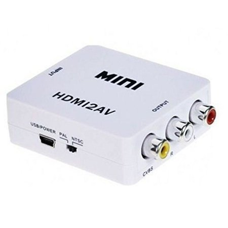 Mini 1080P HDMI to RCA Audio Video AV CVBS Adapter Converter For Smart TV Box TV(White)