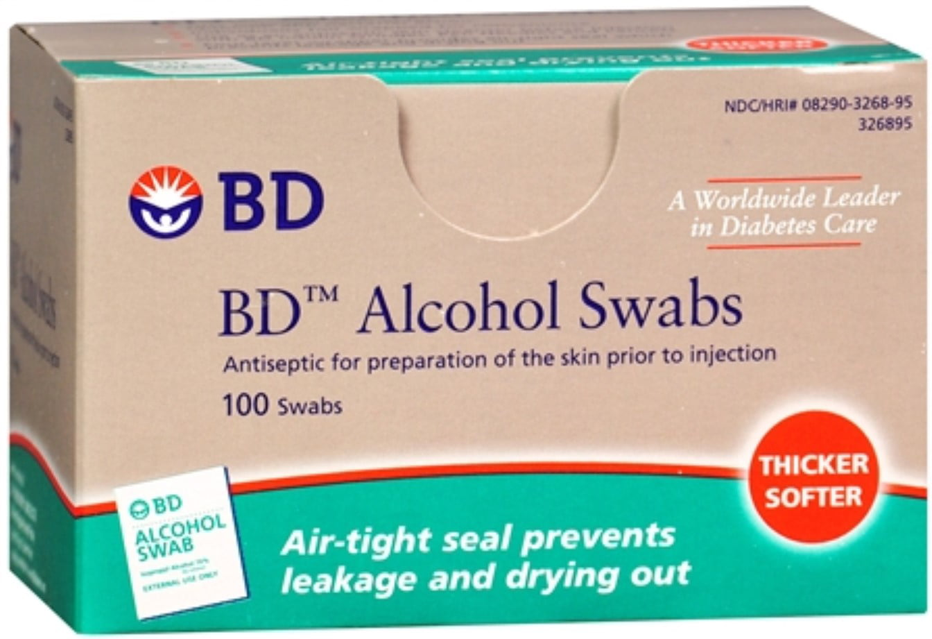 BD Alcohol Swabs 100 Each (Pack of 2) by