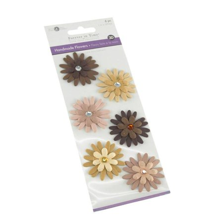 Self Adhesive Paper Flowers 3D, 1-1/2-inch, 6-count, Almond (Self Rimming Almond)