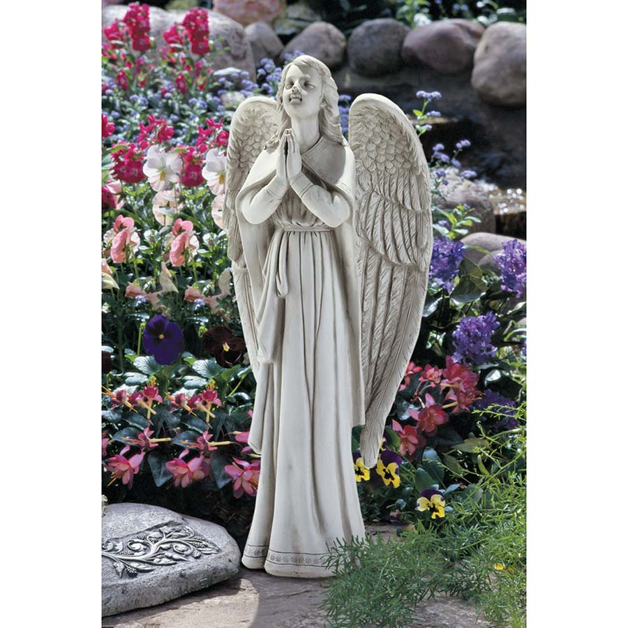 Amazing Divine Guidance: Praying Angel Garden Statue: Large