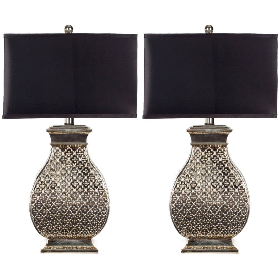 Safavieh Malaga Table Lamp with CFL Bulb, Silver with Black Shade, Set of 2