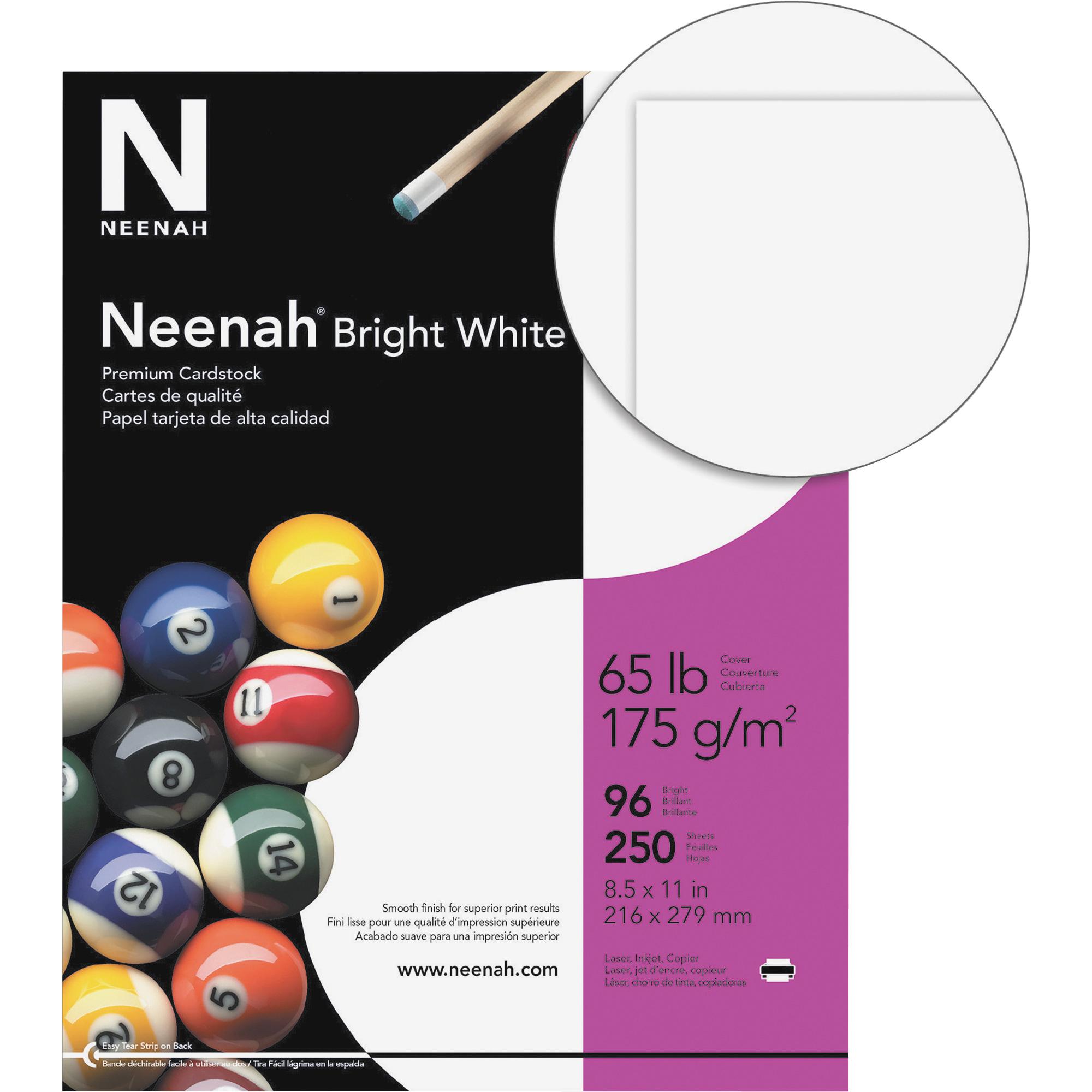 Neenah Bright White Card Stock 65lb 96 Bright 8 12 X 11 White