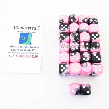 Bulk Dice (Black and Pink Gemini Dice with White Pips D6 16mm (5/8in) Bulk Pack of 50)