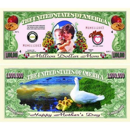 "5 Mother's Day Million Dollar Bills with Bonus ""Thanks a Million"" Gift Card"