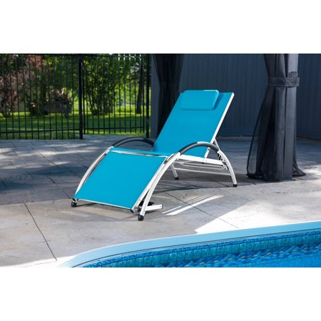Dockside Sun Lounger in True Turquoise with White Aluminum Frame ()