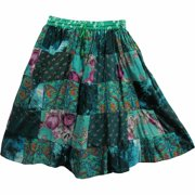Indian Bohemian Gypsy Vintage Ethnic Patchwork Cotton Mini / Mid-Length Skirt - Teal
