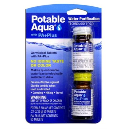 potable aqua water purification tablets with pa plus (pack of 2) Potable Aqua Water