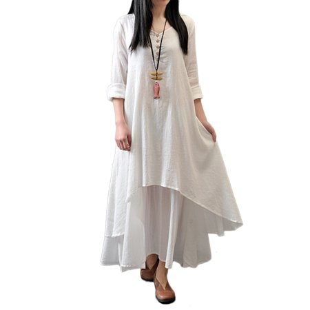Noroomaknet Plus Size Maxi Dresses for Women Cotton Loose Long Sleeve Flare  Dresses,Women Autumn Casual Long Dresses Cotton & Linen