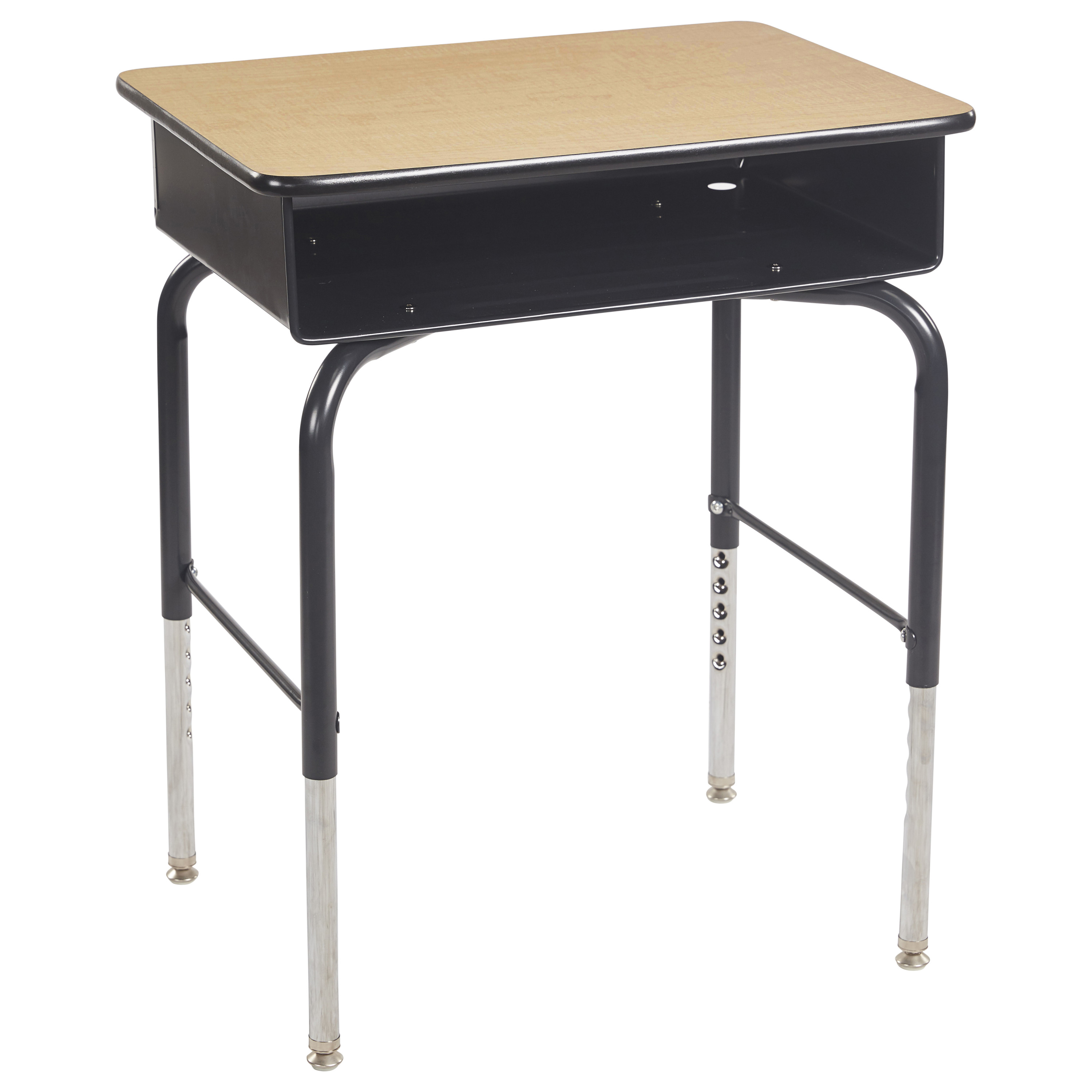 Open Front Kids Desk with Metal Book Box Ready-to-Assemble - Maple/Black