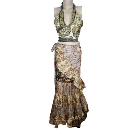 Mogul Womens 2 Pieces Wrap Around Skirt With Halter Crop Top Upcycled Silk Sari Vintage Printed Flare Ruffle Summer Fashion Maxi Dress