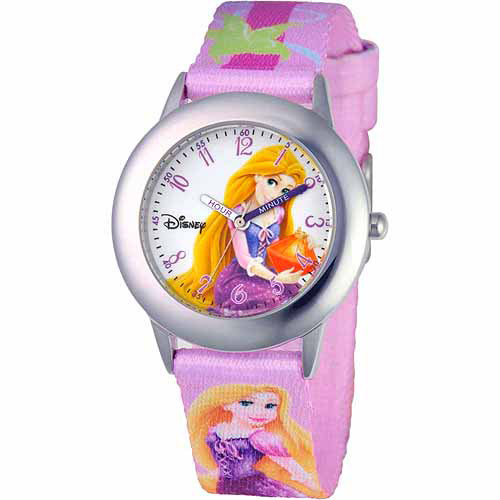Rapunzel Girls' Stainless Steel Watch, Printed Strap