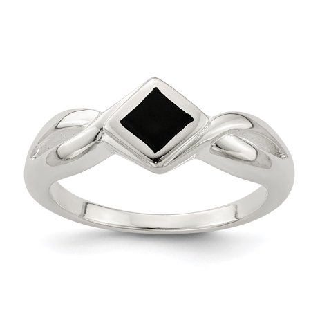 Sterling Silver Onyx Ladies Ring (925 Sterling Silver Black Onyx Band Ring Size 7.00 Stone Natural For Women Gift)