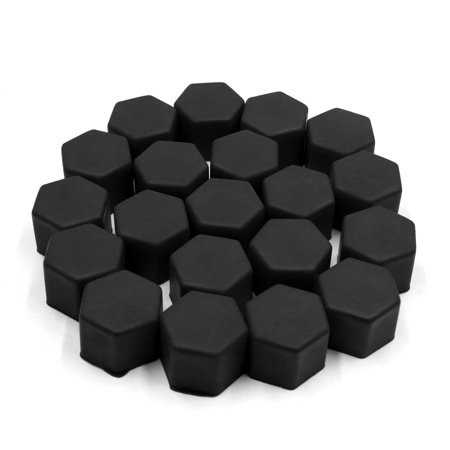 - 20 Pcs 21mm Black Silicone Car Wheel Hub Screw Cover Bolt Protector Nut Cap