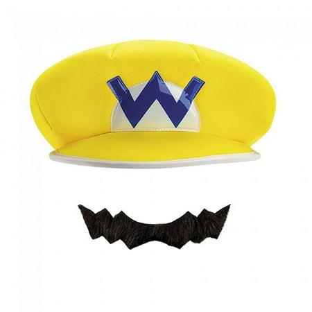 WARIO ADULT HAT & MUSTACHE](Devil Mustache)