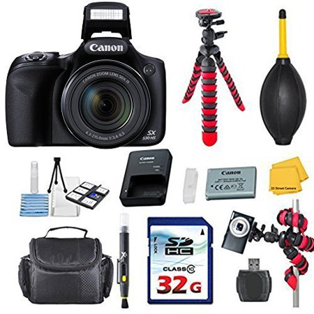 Canon Powershot SX530 HS 16.0 MP Digital Camera with 50x Optical Zoom and 1080p Full HD Video Bundle with Commander 32GB High Speed Memory Card + Card Reader + Deluxe - Digital Camera Starter Kit