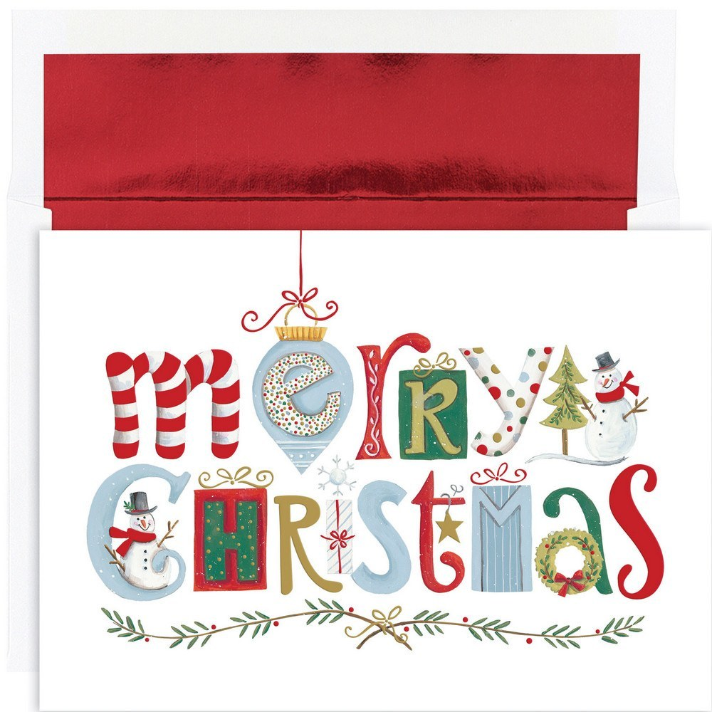 JAM Christmas Card Sets, 16/Pack, Merry Christmas Elements