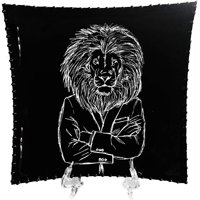 DecorShore Designs 8x8 Decorative Tray with Display Stand with Black & White Lion in a Suit Metal Plate Tray with Glossy Finish in Small Size