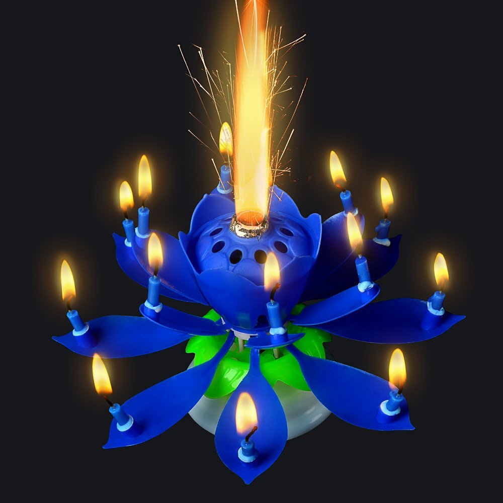 GZYF 1PC Amazing Birthday Flame Flower Lotus Music Candles Singing Rotatable Double Layers Candle Spin Candle with 14 Small Candles Blue