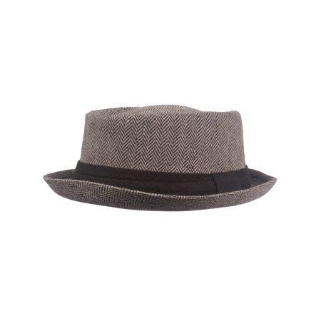 Top Headwear Wool Blend Herringbone Fedora