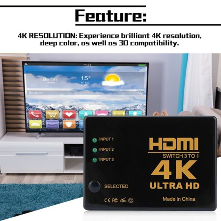 HC-TOP 3x1 Rectangle HDMI Switch 4k x 2k 3D HDMI Switcher Hub Port Switches HD1080p - image 5 of 13