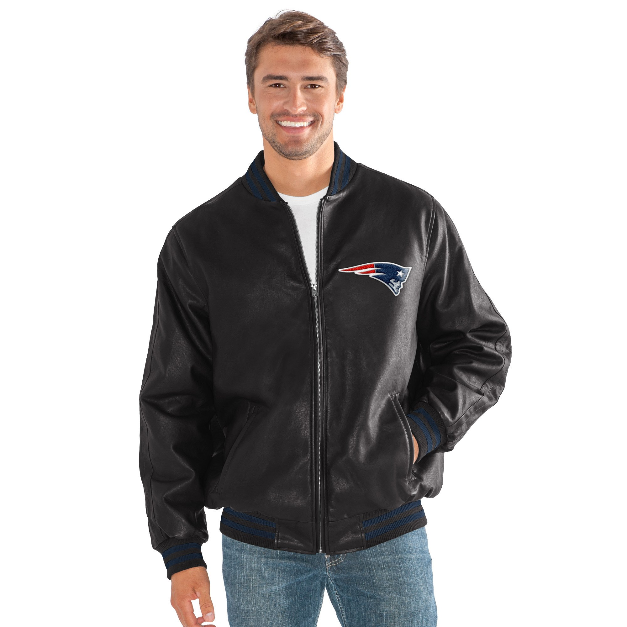 New England Patriots Men's Stiff Arm Full Zip Black Pu Leather Jacket by G-III Sports