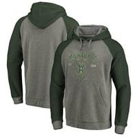 Milwaukee Bucks Fanatics Branded Heritage Tri-Blend Raglan Pullover Hoodie - Heathered Gray