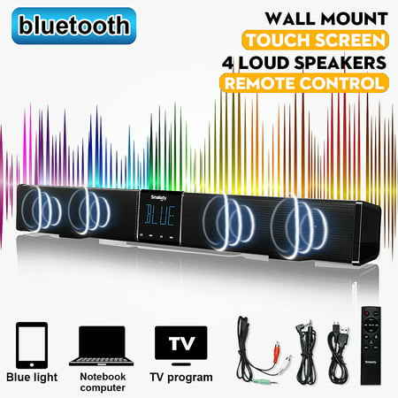 SMALODY Powerful Home Theater TV Soundbar LED Touch Screen Wireless B luetooth Stereo Sound Bar Surround Stereo Speaker Subwoofer Wall Hanging/Flat +Remote TF AUX For PC