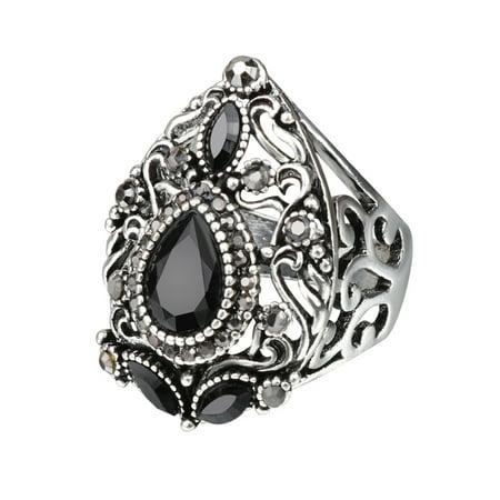 Women Retro Style Wide Ring Creative Hollow Rhinestone Rings