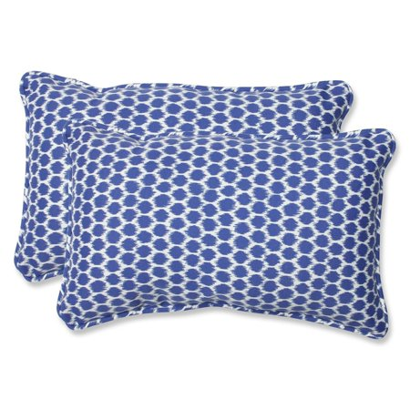 Royal Blue And White Throw Pillows : Set of 2 Ruche D abeille Royal Blue and White Outdoor Corded Throw Pillows 18.5