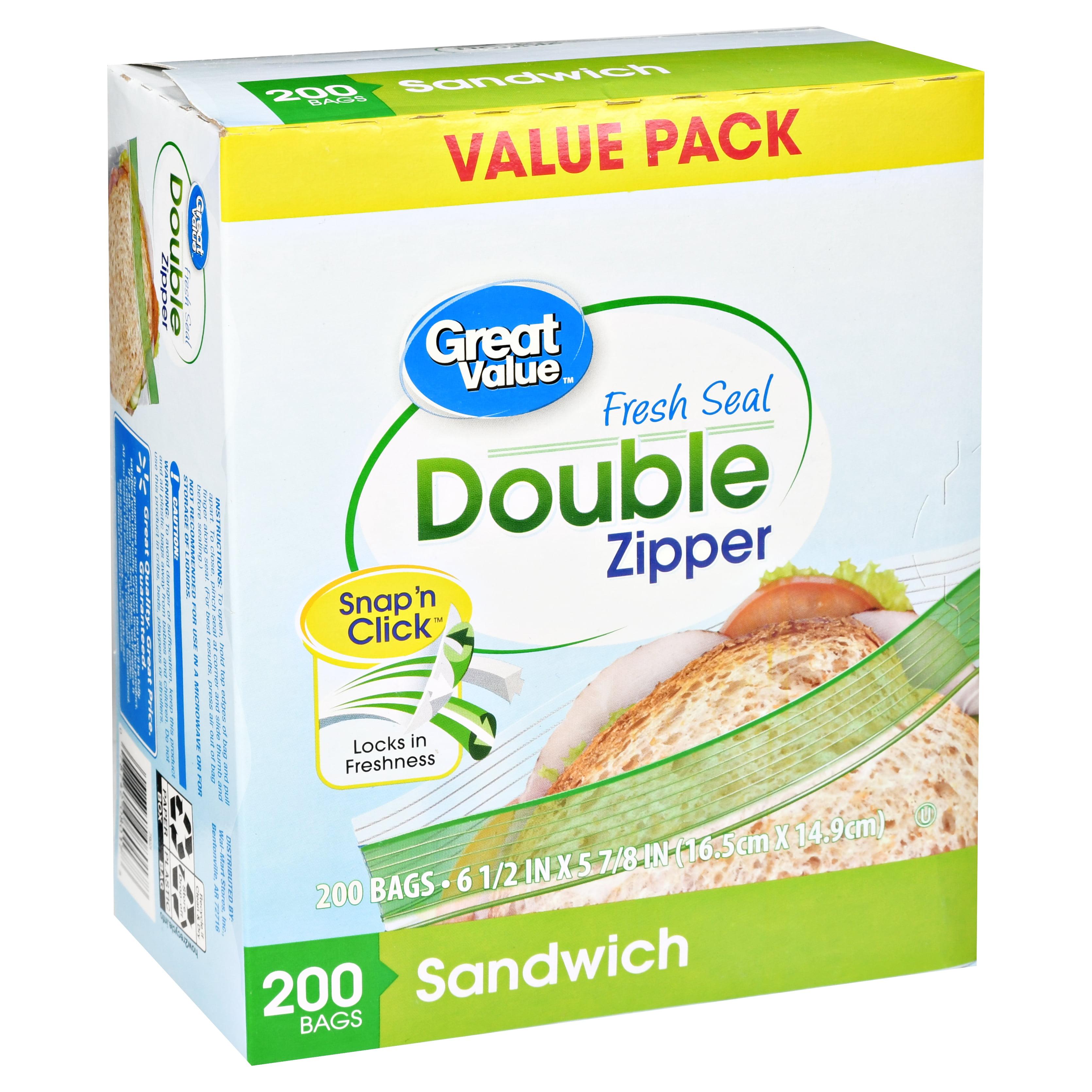 Great Value Double Zipper Sandwich Bags 200 Count Best