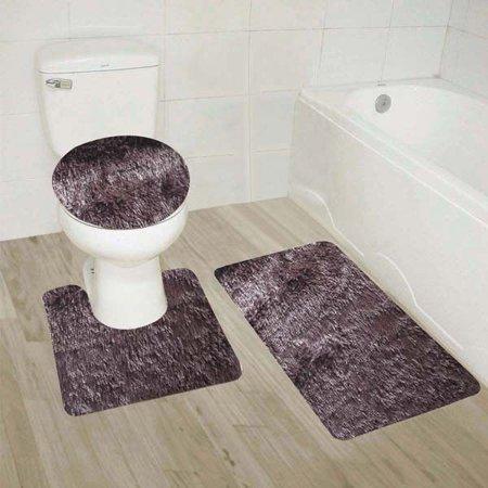 9 Coffee 3 Piece Solid Plain Shaggy Bathroom Rug Set Large Bath Mat