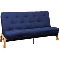 Phoenix 10 inch Loft Inner Spring Futon Sofa Sleeper Bed Full size Natural Arms Suede Dark Blue