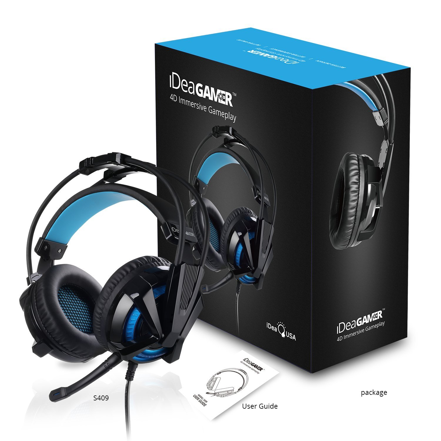 iDeaUSA Gaming Headset,Virtual 7 1 Surround Sound Gaming Headphones with  Mic, Noise Cancelling USB Over Ear Gamer Headset Vibration Volume Control  LED