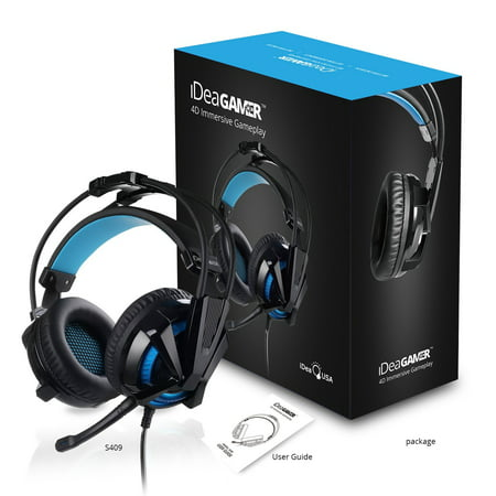 iDeaUSA (S409) Gaming Headset,Virtual 7.1 Surround Sound Gaming Headphones with Mic, Noise Cancelling USB Over Ear Gamer Headset Vibration Volume Control LED Light