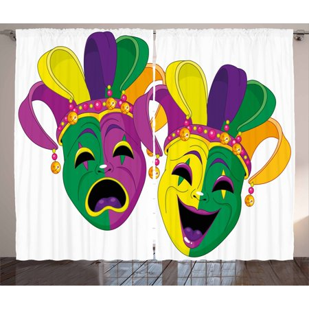 Mardi Gras Curtains 2 Panels Set, Traditional Masks of Tragedy and Comedy Festival Celebration Masquerade Theme, Window Drapes for Living Room Bedroom, 108W X 108L Inches, Multicolor, by - Mardis Gras Curtain