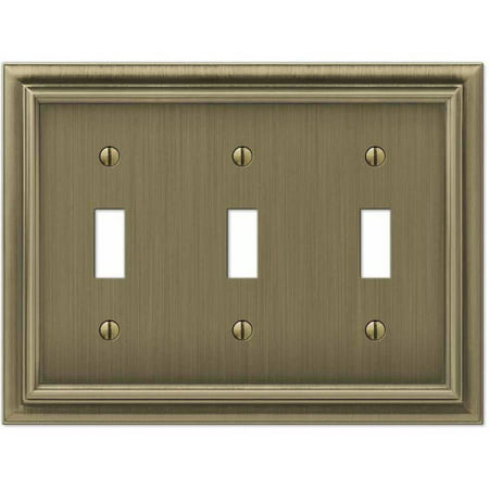 Continental Brushed Brass Cast Triple Toggle Wallplate