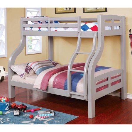 Furniture Of America Utaria Curvy Twin Over Full Bunk Bed Grey Grey
