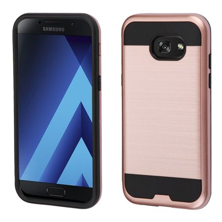 pretty nice 32fe6 11eca Samsung Galaxy A5 2017 Case, by Insten Brushed Hybrid Hard PC/TPU Dual  Layer Protective Case Cover For Samsung Galaxy A5 (2017) - Rose Gold/Black
