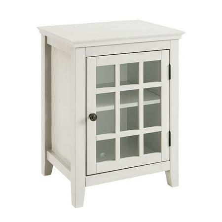 Riverbay Furniture Antique Single Door Curio Cabinet in White