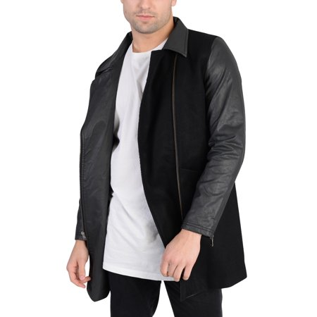 Adidas Mens Long Wool Outerwear Jacket Black L Long Black Wool Coat