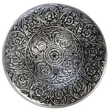 Incense Burner Tibetan Mandala Design Carved Disk Made for Stick Burning Meditation Relaxation Tool 3 3/4