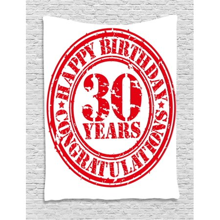 30th Birthday Decorations Tapestry, Grunge Rubber Stamp Congratulation Retro Old Fashioned Design, Wall Hanging for Bedroom Living Room Dorm Decor, 40W X 60L Inches, Red White, by - Retro Decorations